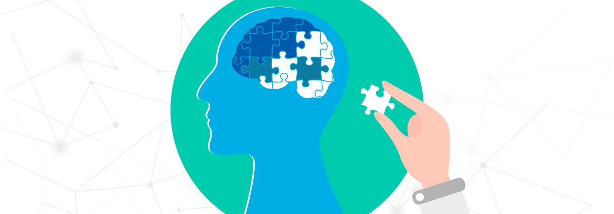 je ziet een hoofd met daarin hersenen en puzzelstukjes. Er ontbreekt 1 stukje, wat staat voor de niet-aangeboren hersenaandoening.